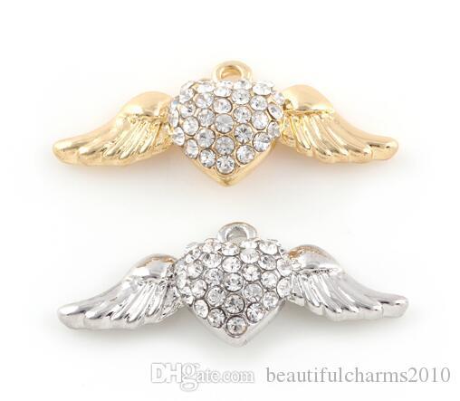 20 قطعة / الوحدة 12x30 ملليمتر (الذهب والفضة اللون) ملاك الجناح هانغ قلادة سحر صالح للذاكرة المغناطيسي العائمة المنجد