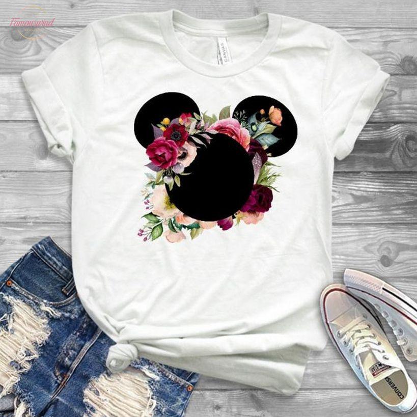 Frauen-Mode-T-Shirt Grafik-Blumen-Frauen Nettes Ohr-T-Shirts Mädchen Laides Tumblr T Hipster Kleidung weibliche T-Shirt-Druck-T-Shirts