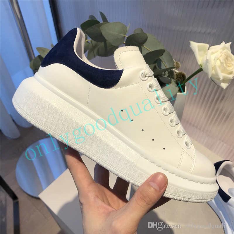 2020 رجل إمرأة الأبيض موضة أحذية جلدية منصة أعلى جودة ربط الحذاء حتى المتضخم وحيد حذاء رياضة الأزرق الداكن الأسود الوردي الأحمر Velet حجم 35-46