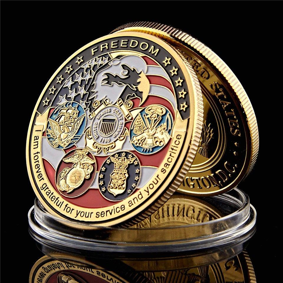 Gold Plated Coin USA Navy USAF USMC Army Coast Guard American Free Eagle Totem Gold Military Medal Challenge Coin