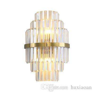 Lampada da parete a parete di cristallo dell'oro accensione dei ripari da letto Soggiorno LED del lato del letto della decorazione della parete Light Fixtures