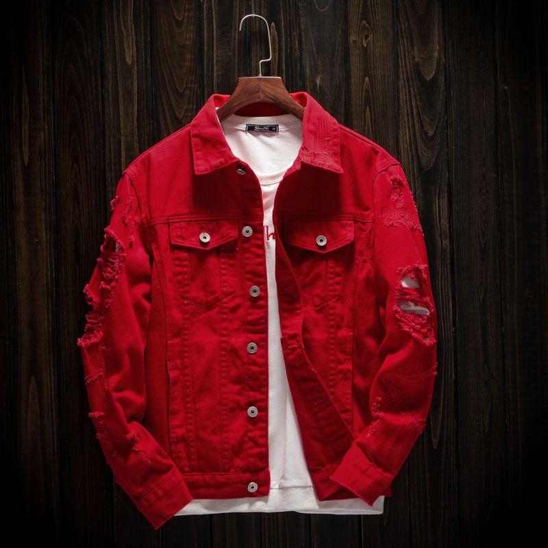 Осенняя мужская джинсовая куртка сплошной куртки Разорванные пальто Куртки Размеры отверстие Slim Fit 3XL повседневная мужская хлопчатобумажная красная плюс ковбойская одежда пальто ittnv