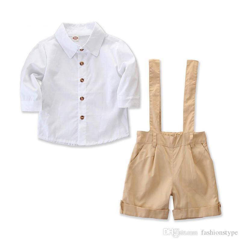 2019 iNS baby boy одежда Костюмы Весна Лето Одежда для мальчиков Наборы с длинным рукавом рубашка подтяжки шорты детская дизайнерская одежда для мальчиков одежда