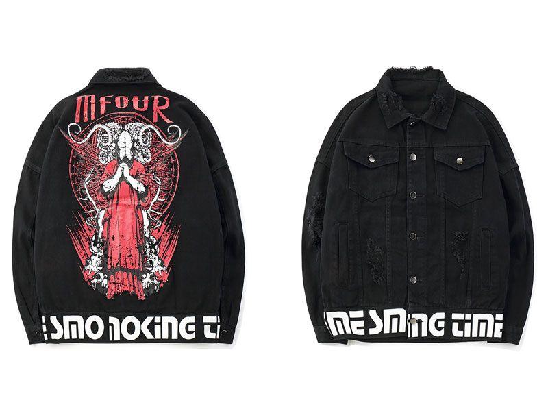 2019 Otoño Satanás Cabeza de Cabra Símbolo Oculto Impreso Ripped Denim Chaquetas Hombres Hip Hop Casual Distressed Jeans Abrigos Hombre