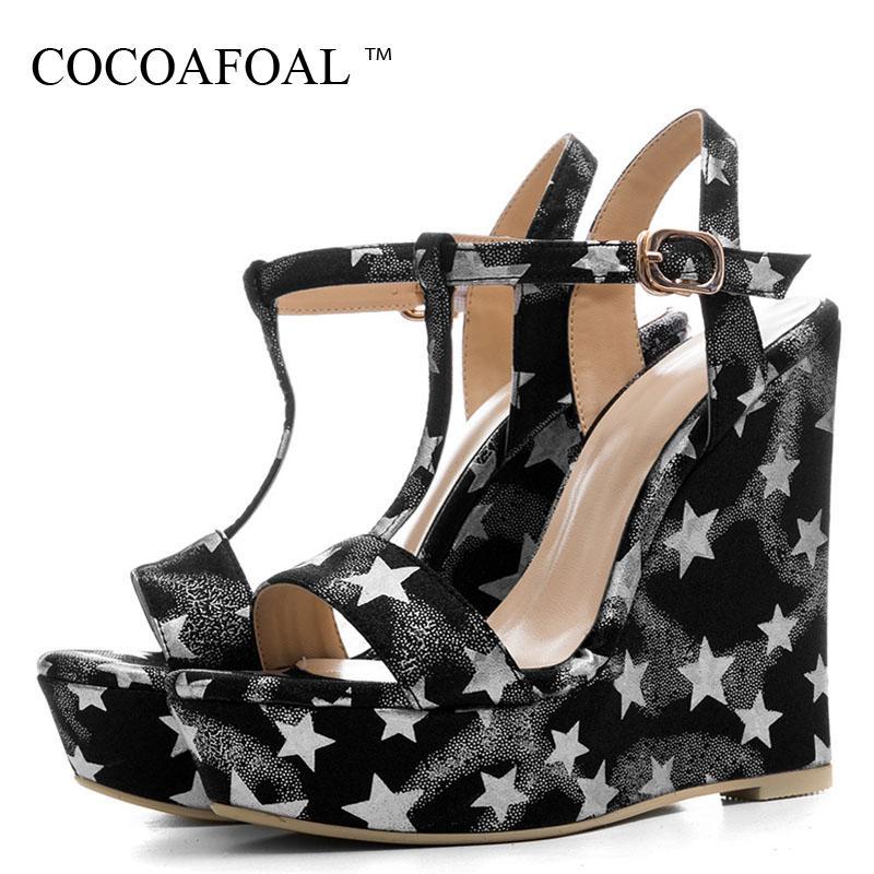 COCOAFOAL 여름 여성용 웨지 샌들 여성용 발꿈치 신발 실버 골드 플랫폼 여성용 하이힐 샌들 Zapatos Mujer Blue