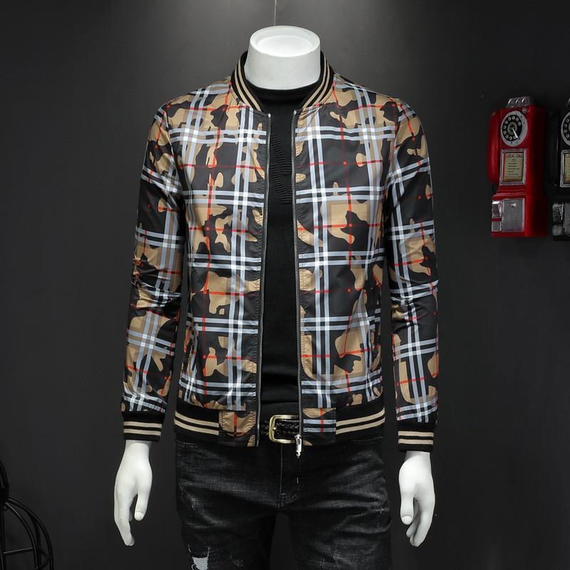 Personalidad Imprimir chaquetas Permanente hombres del collar fino abrigos al aire libre de alta calidad a prueba de viento caliente diseñador chaquetas envío
