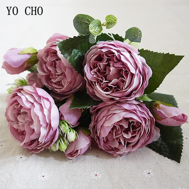 YO CHO Fashion Beautiful Peony Artificial Rose Flowers Wedding Decoration Silk Flowers Bouquet White Peony Red Rose Fake Flowers