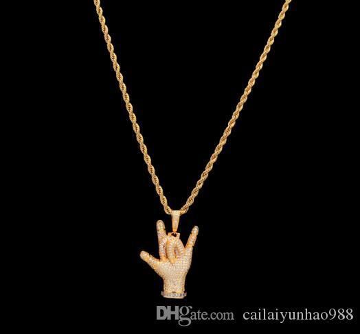 14 K Altın Kaplama Hip-Hop kişilik jest kolye seni seviyorum mikro-kakma Su Elmas eğilim el kolye