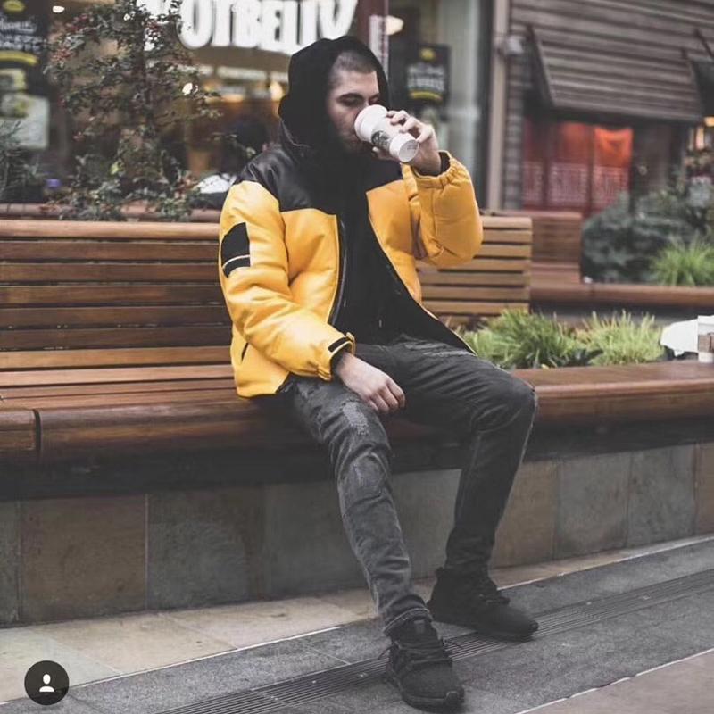 남성 디자이너 재킷 17fw T X SP 가죽 Nuptse의 재킷 다운 재킷 노란색, 빨간색 검은 색 방풍 두꺼운 겉옷 패션 트렌드 다운 재킷