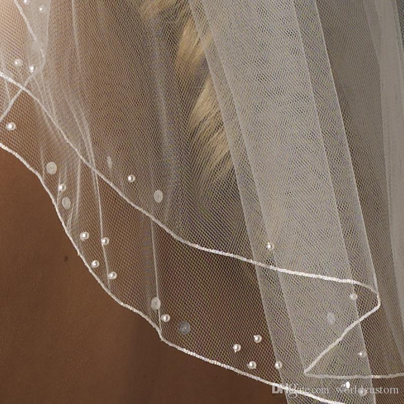 Real Picture Meilleure Vente Deux Couche Perlée Edge Perles Paillette Voile De Mariage Avec Alliage Peigne Voile De Mariée Personnalisé Blanc Ivoire Longueur De L'épaule