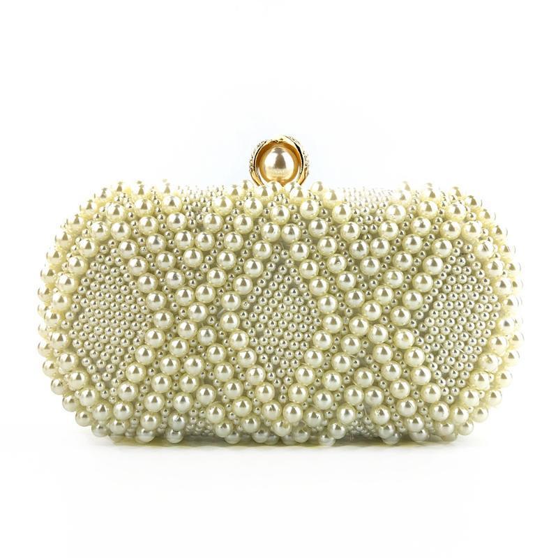 le donne in rilievo Handmade signore di modo perla della borsa della spalla ragazze cena diamante frizione borsa da sera bianco per il partito e di matrimonio