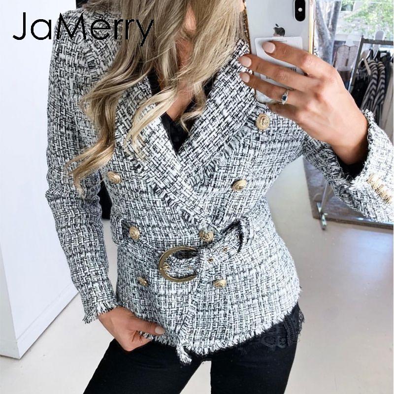NEW Women Fashion Casual Long Sleeve Plaid Double-breasted Cardigan Retro Coat