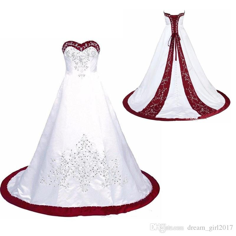 Red And White Wedding Dress Embroidery Princess Satin A line Lace up Back Court Train Sequins Beaded Long Cheap Wedding Gowns