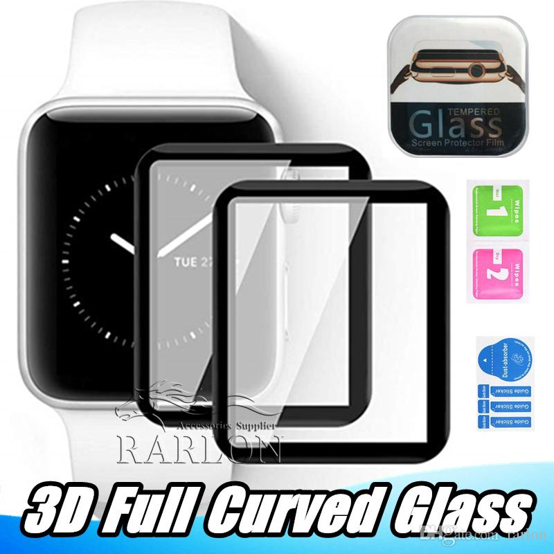For Apple Watch 4 40mm 44mm 3D Full Curved Tempered Glass Screen Protector Full Coverage iWatch Series 5 2 3 38mm 42mm Screen Film With Box