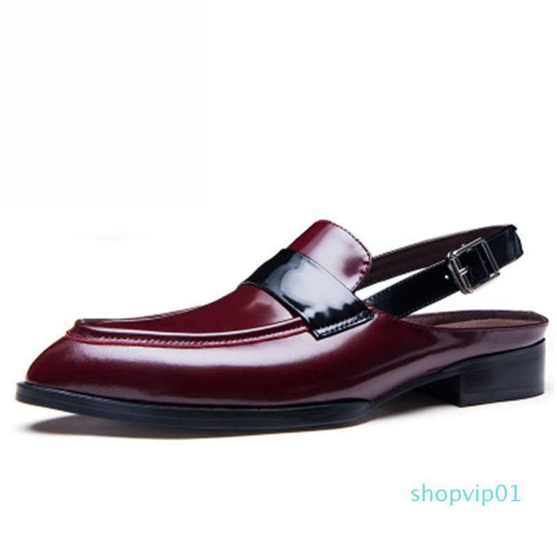 Sandales d'été Les hommes en cuir véritable classique Spartiates 2020 Glissement Flip Flops Half Men Shoes 8 # 22 / 20D50