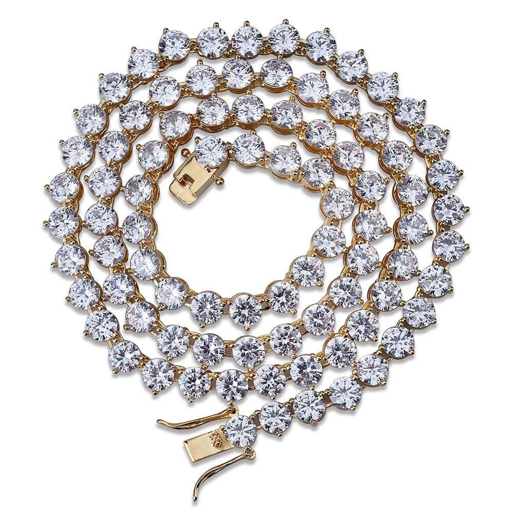 L'oro rame placcato Hip Hop Collana rotonda CZ Zirconia Tennis 4 6 8 millimetri Unisex fuori ghiacciato diamante Punk Rock Rapper gioielli per donne degli uomini