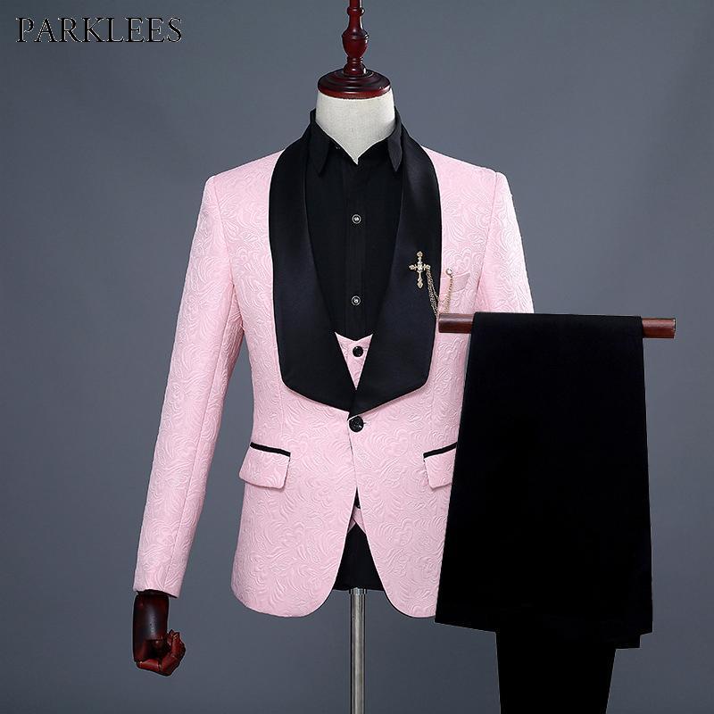 Erkek Bir Düğme Şal Yaka Çiçek Jakarlı 3 Adet Suits 2019 Marka Yeni Düğün Damat Balo Smokin Takım Elbise Erkekler Terno Masculino Pembe