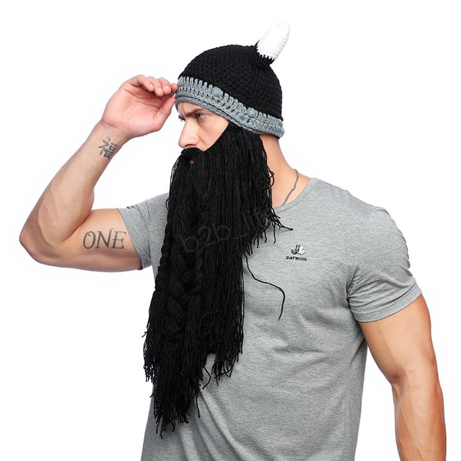 Mann-Winter-Schnurrbart Braid Beanie Halloween Lustige cosplay Hut Barbarian Vagabond Viking Bart Hut Horn Warme Woll Strickmaske LJJA2814