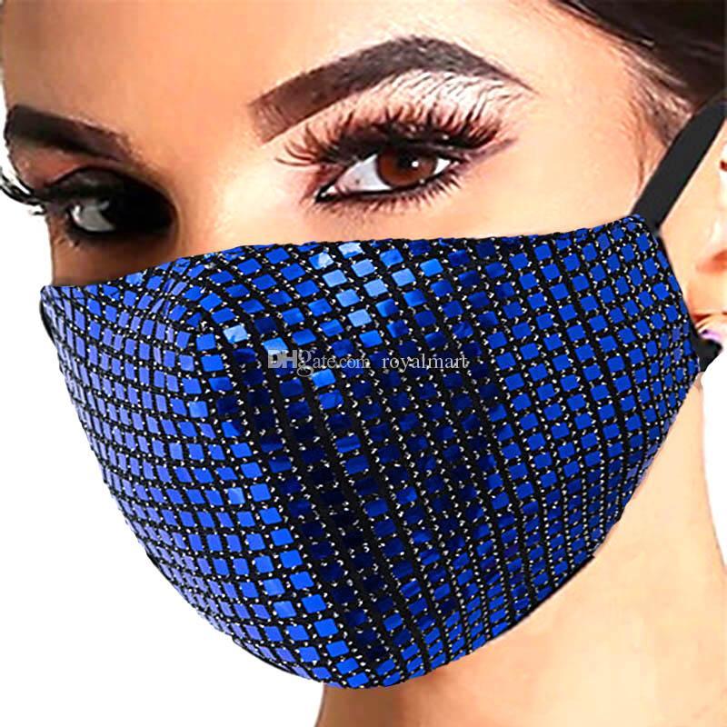Máscaras quadrado brilhante Lantejoula protecção das mulheres dos homens da moda à prova de poeira respirável laváveis Máscaras de ouvido ajustável Máscaras Buckle