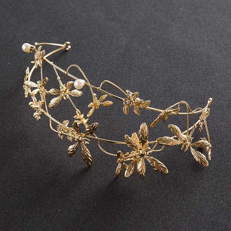 Yeni Muhteşem Altın Kelebek Gelin Taç Fildişi İnci Diadem Gelin Hairband başlıkiçi Düğün Yarışması Saç Takı Süs BH