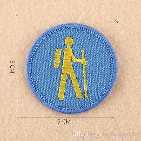 8P-72 heißen Verkauf gestickten runde Karikatur-Eisen auf Fleck Boy Scout Abzeichen Applikationen KIDS nähen auf Patch Kundendesign