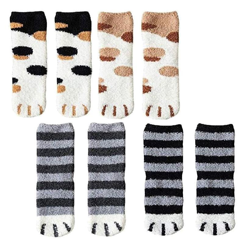 Women Cat Claw Coral Thickening Winter Warm Sock Cotton Middle stockings Socks