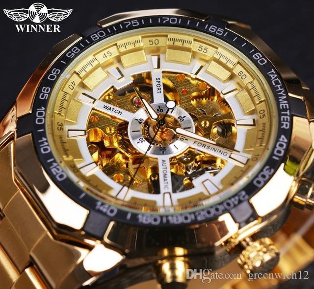 Zwycięzca Mężczyźni Szkielet Zegarek Mechaniczny Top Luksusowy Złoty Sport Mężczyzna Watch Moda Casual Design Brand Automatyczny zegarek dla męskiego Męski zegar