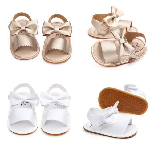 Newborn Infant Baby Girls Soft Sole Sandals Toddler Summer Shoes Bowknot Sandals