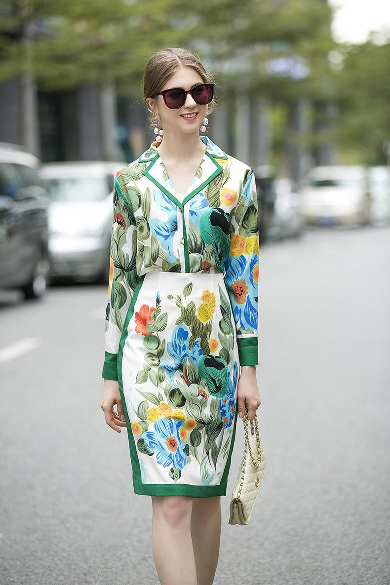 2020 Revers-Ausschnitt Langarm-Shirt und für Damenmode Röcke 2 Stück Sets 11,30 bis 6