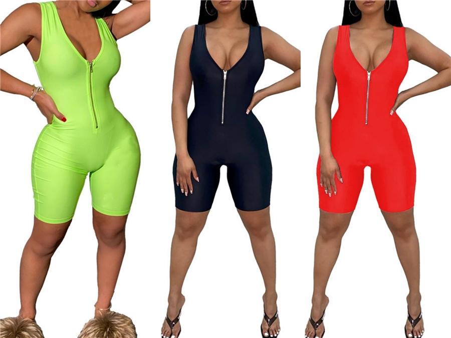 Verano flojo fajas para mujer del mono de manga corta color sólido Calle Body Style cortocircuitos de las señoras de los mamelucos nuevo # 30516