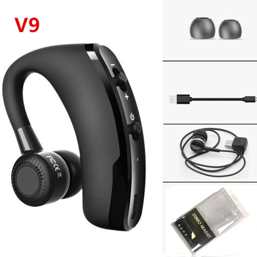 Single Wireless Bluetooth Handsfree Earphone V8 V9 Business Sports Headset Headphone Noise Cancelling Headset for Driver Sport Music Calling