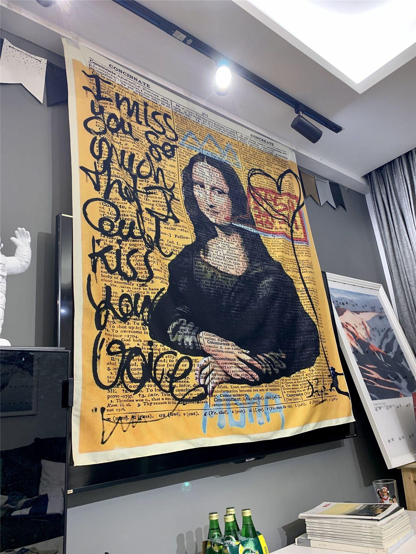 모나리자 낙서 가구 및 장식용 벽걸이 보헤미안 비치 매트 폴리 에스터 담요 요가 매트 홈 침실 예술 카펫 T200628