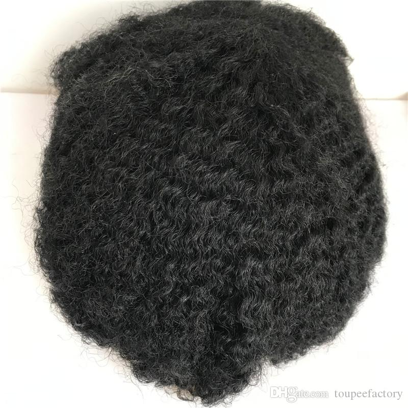 Afro Curly Human Hair Toupee Full Lace Men Toupee Black Curly Toupee For Men Replacement System