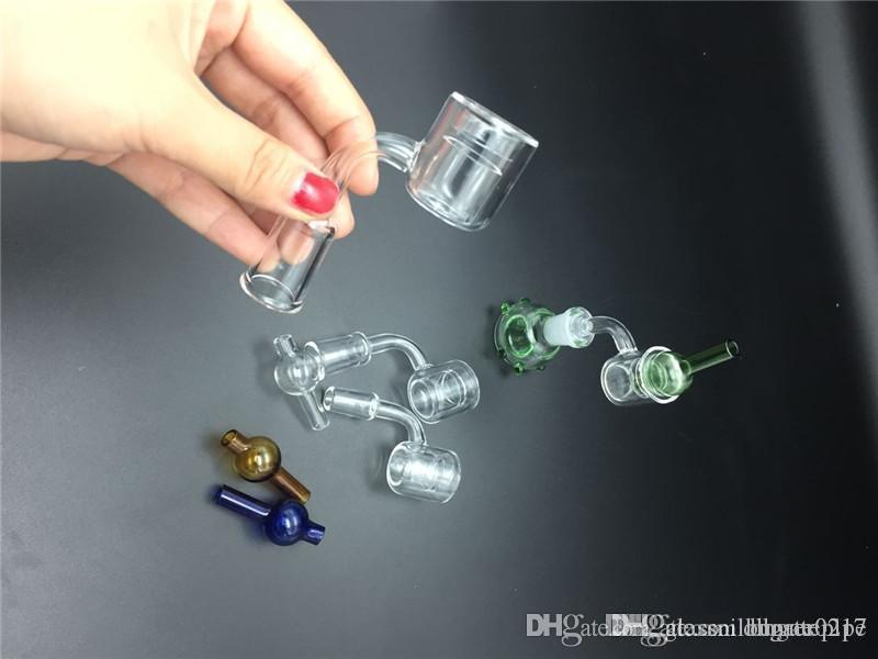 Yüksek kaliteli 2pcSet XXL Kuvars Banger çivi + cam bonglar petrol kuyuları ve su sigara için Kabarcık karbonhidrat kapağı Çift Tüp Kuvars Banger Tırnak