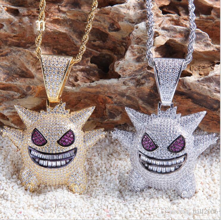 Geist Halskette Anhänger Mit 4mm Tennis Kette Gold Silber Farbe Bling Kubikzircon Männer Hip Hop Schmuck Für Geschenk
