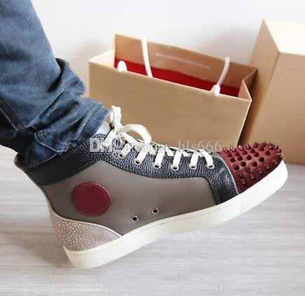Wholesae Kırmızı Alt Ayakkabı Erkekler Gri şarap kırmızı ile Hakiki Deri Kırmızı alt sneakers ORLATO MASTIK SNEAKERS EĞITIMCILER ÜCRETSIZ NAKLIYE