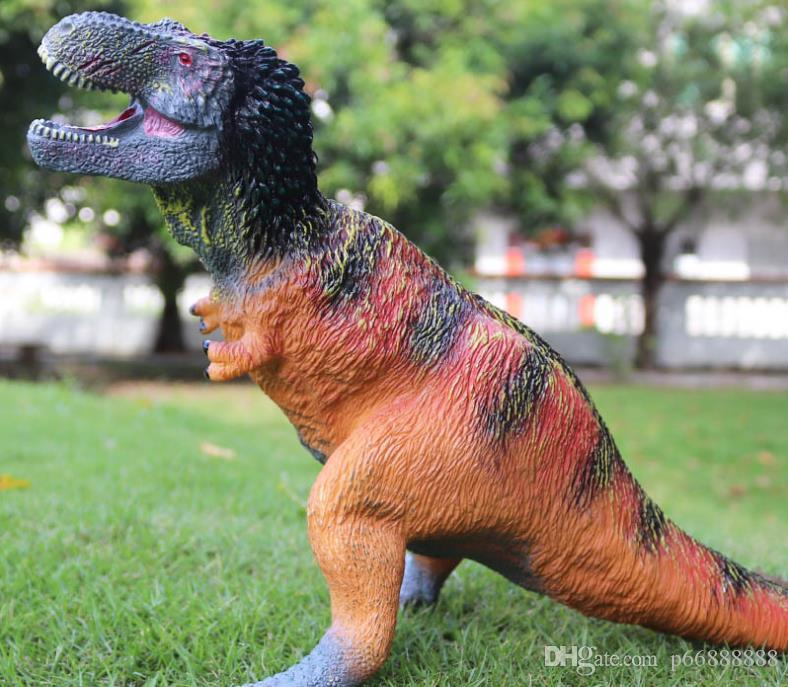 Çocuk simülasyon bulmaca dinozor modeli yumuşak kauçuk büyük tüy Kral Ejderha dinozor Tyrannosaurus Rex el modeli oyuncak yastıklı