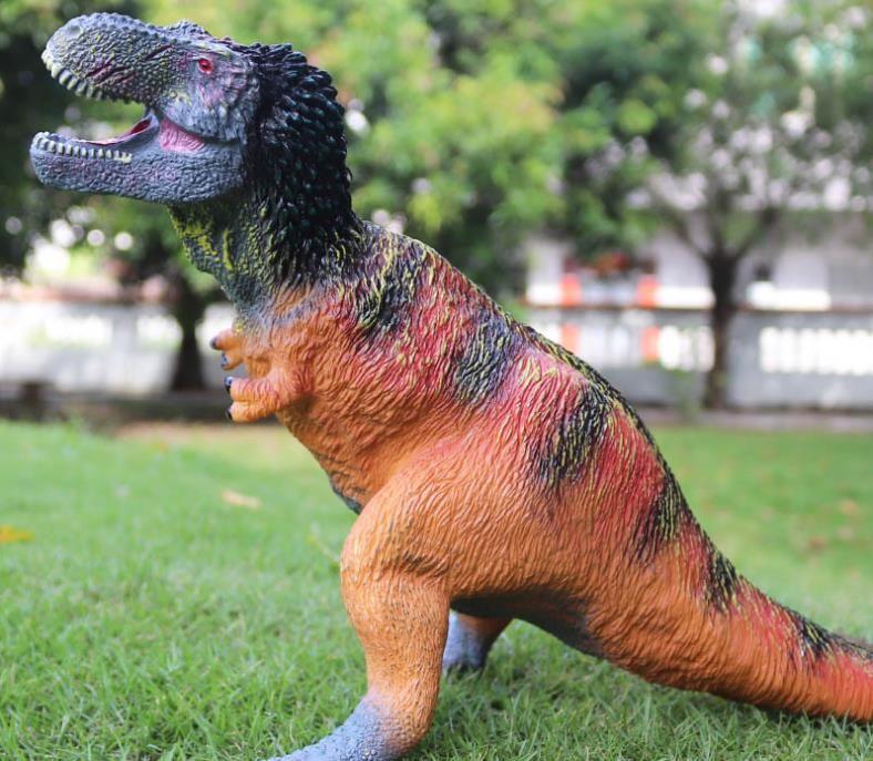 borracha modelo de dinossauro macio simulação de quebra-cabeça das crianças acolchoado grande pena Rei Dragão dinossauro Tiranossauro Rex de brinquedo modelo de mão