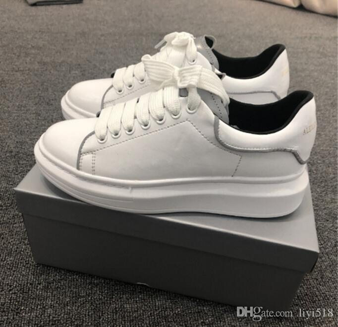 New type high white shoes with thick sole leisure and pure color couple sneakers