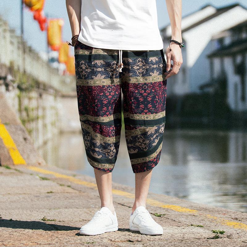2019 Sommer-Kalb-Länge lose beiläufige Hosen Herren japanischen Street Jogger Männer Hosen Hip Hop Jogginghose Männer Hosen 4XL 5XL
