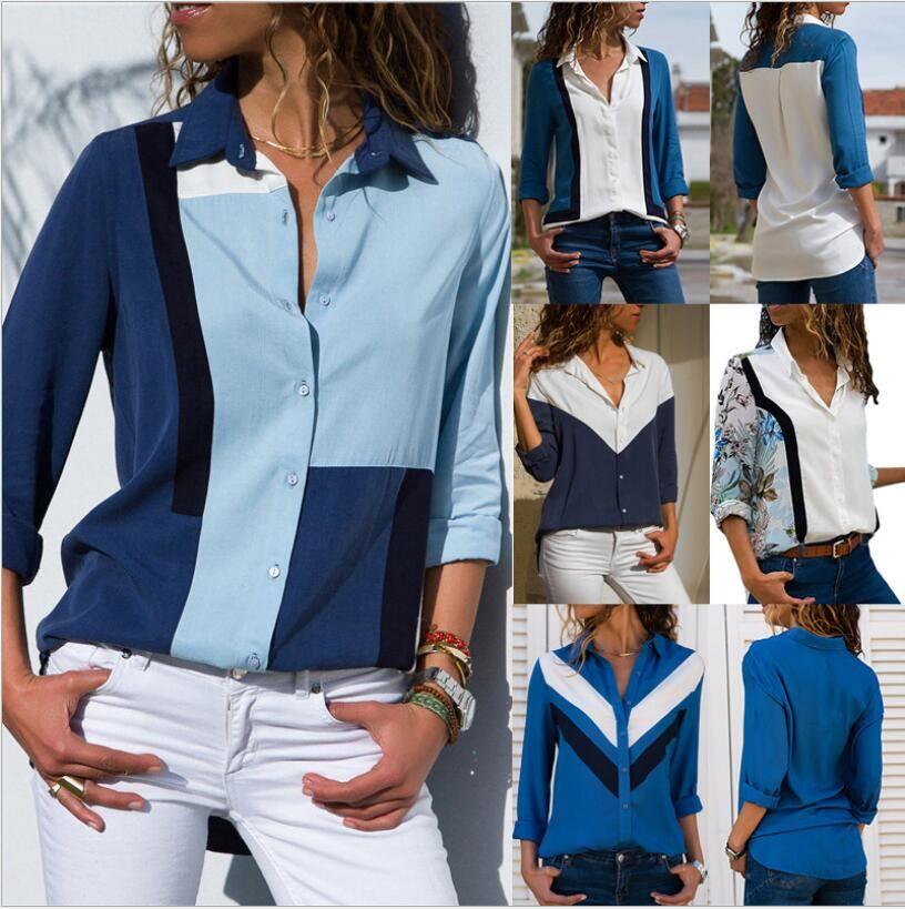 Womens Blusen 2019 Mode Langarm Umlegekragen Büro Hemd Chiffon Bluse Shirt Casual Tops Plus Größe Blusas Femininas S-3XL