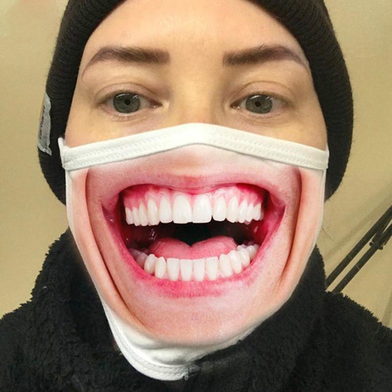 Divertente 3D espressione faccia mascherina mascherine antipolvere modo di stampa del cotone riutilizzabile lavabile in bicicletta Maschera di lusso della Maschera