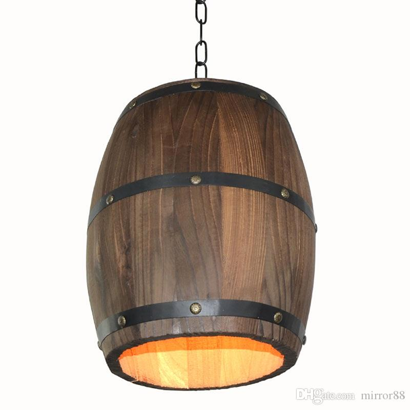 الإبداعية الرجعية مميزة الخشب النبيذ برميل شنقا تركيبات السقف قلادة الديكور مصباح الإضاءة بار مطعم مقهى ضوء السقف