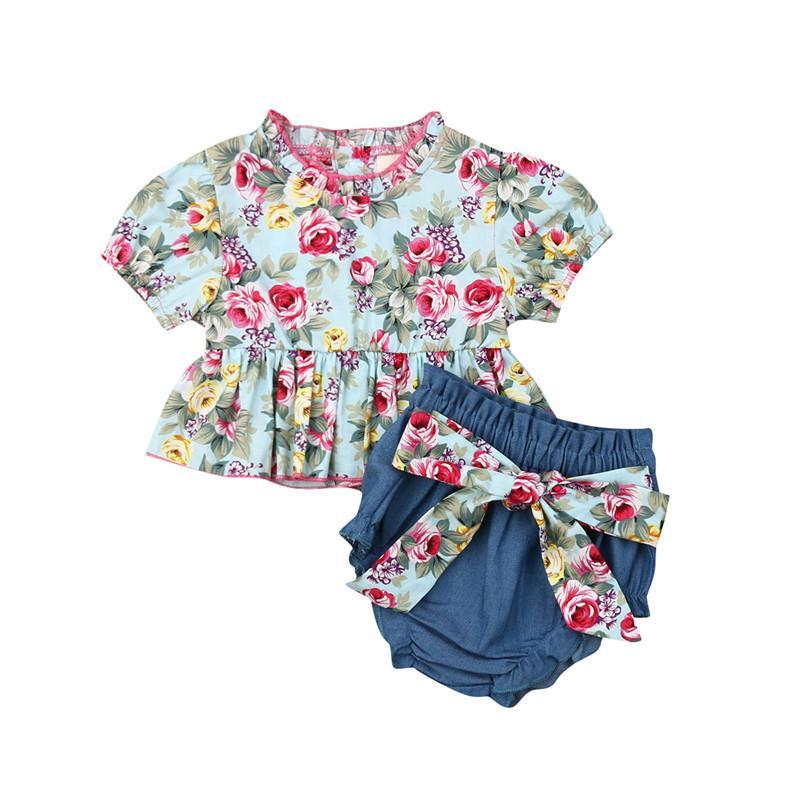 2019 Newborn Baby Girls Ruffle Floral Short Sleeve Tops Dress+Bow Denim Short