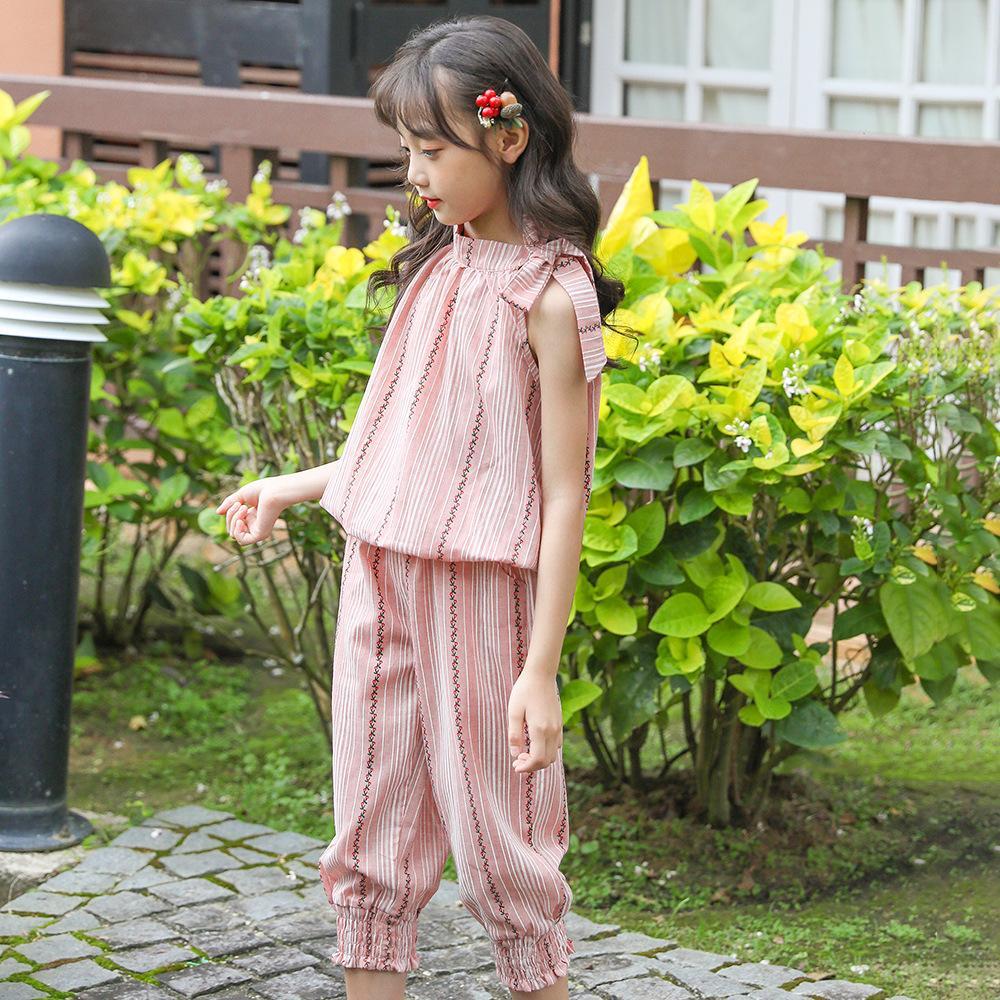 2020 Sommer-neue Ankunfts-Mädchen-Klage ärmel Mädchen Tow Stück Kleidung einzigartiges Design aus hochwertiger Solid Color angenehm zu tragen