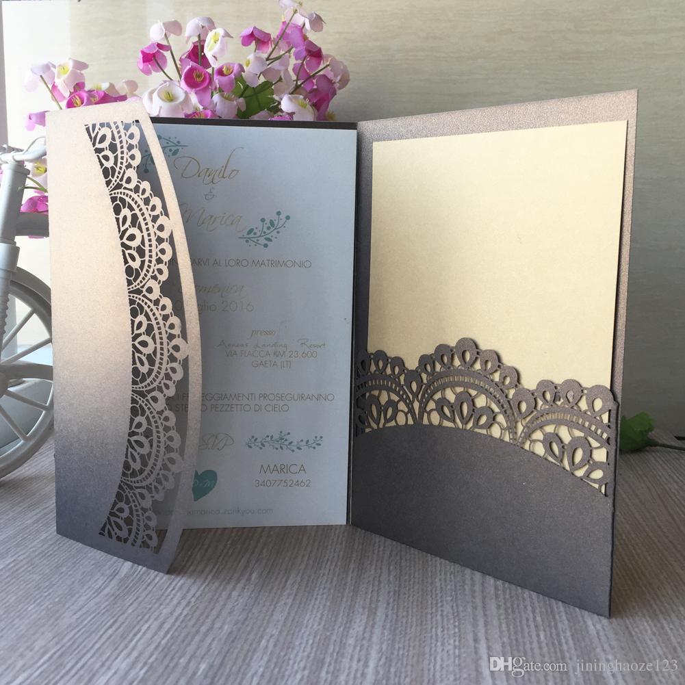 Tri-fold pocket rose wedding invitation card with rsvp envelope navy blue flora modern laser cut invitation paper