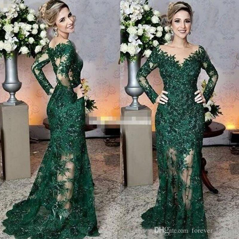 Luxury Dark Green Lace Mermaid Mother of the Bride Dress Sheer Bateau Neck Illusion Long Sleeves Formal Dresses Evening Party Gowns