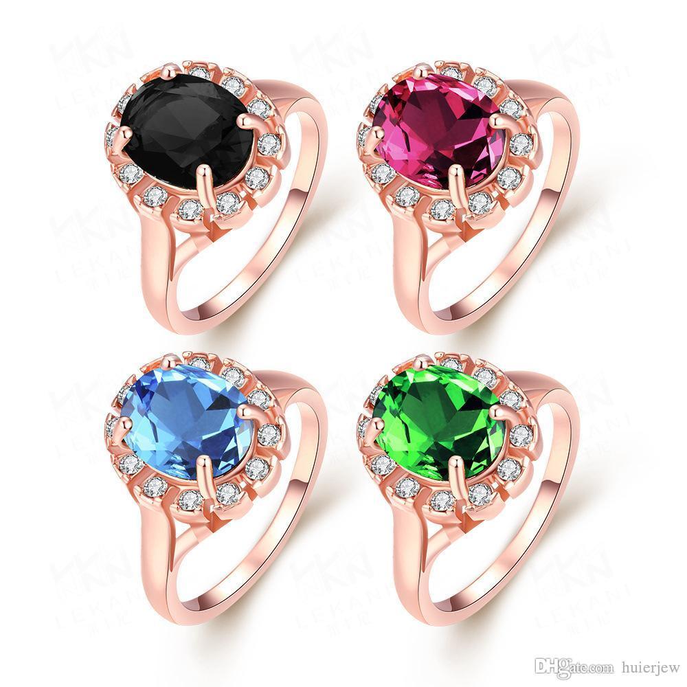 الأحجار الكريمة خواتم الماس الأزياء والمجوهرات الجميلة الاشتباك خواتم الزفاف كريستال 18 كيلو الذهب مطلي خواتم الزفاف كريستال الماس