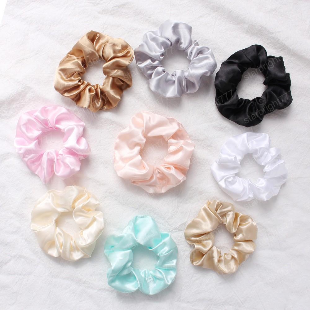 Satin Hair Scrunchies Frauen Scrunchie Pack Damen elastische Haar-Bänder Mädchen Kopfbedeckung Solide Silky Donut Grip Loop-Pferdeschwanz-Halter