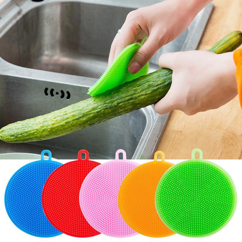 Silicone Dish Bowl Spazzole per la pulizia Multifunzione 5 colori Scouring Pad Pot Pan Wash Brushes Cleaner Cucina Dish Washing Tool DBC DH0718
